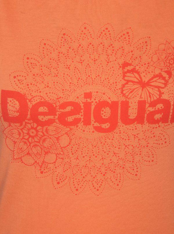 Oranžové tielko s potlačou Desigual Sport