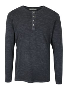 Tmavomodré tričko s dlhým rukávom Jack & Jones Wolfsburg