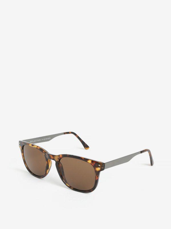 Hnedo–čierne slnečné okuliare Selected Homme Steven