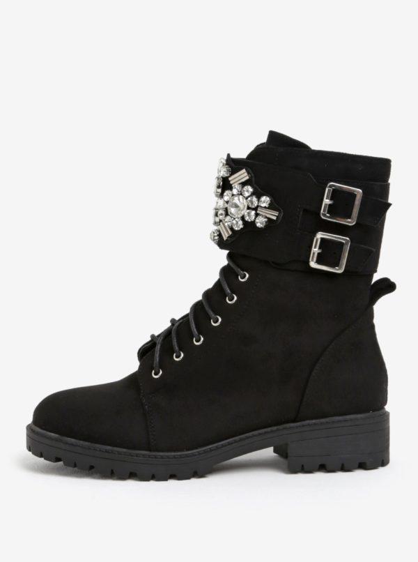Čierne členkové topánky s ozdobami MISSGUIDED