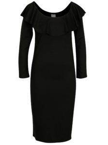 Čierne šaty s lodičkovým výstrihom VILA Nalan