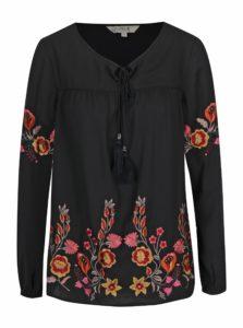 Čierna blúzka s kvetovanou výšivkou M&Co