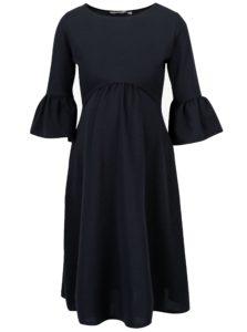 Modré tehotenské šaty s volánmi na rukávoch Dorothy Perkins Maternity