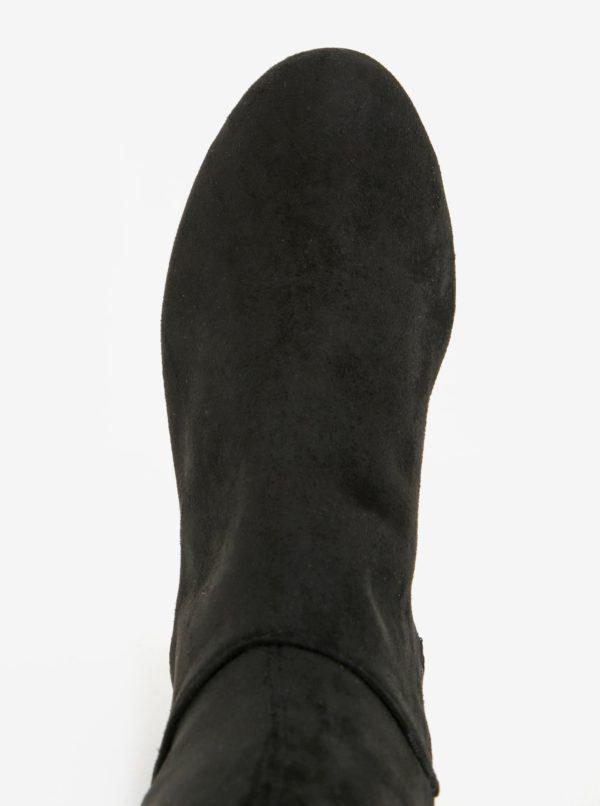 Čierne vysoké čižmy v semišovej úprave Miss KG Vicky