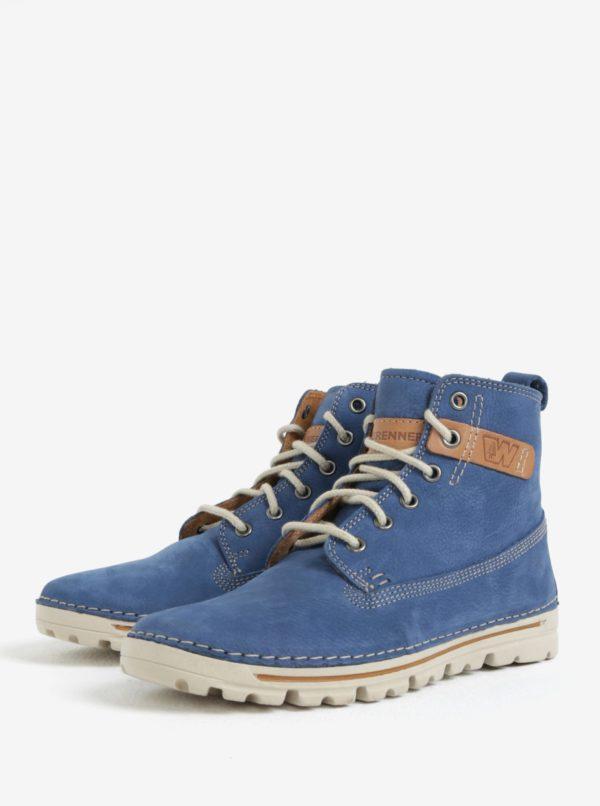 Modré dámske kožené členkové topánky Weinbrenner  f7e6df287a7