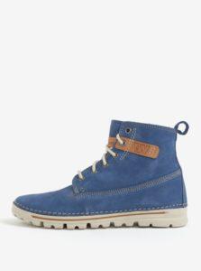 Modré dámske kožené členkové topánky Weinbrenner