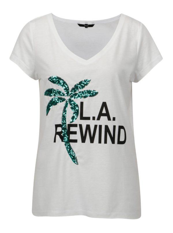Biele tričko s potlačou a palmou z flitrov VERO MODA Bling