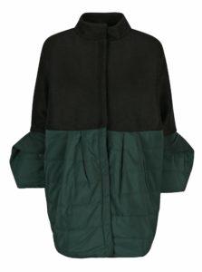 Čierno-zelený prešívaný vlnený kabát balónovými rukávmi Framboise Nola