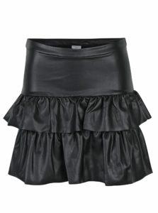 Čierna koženková sukňa s volánikmi Jacqueline de Yong Punk