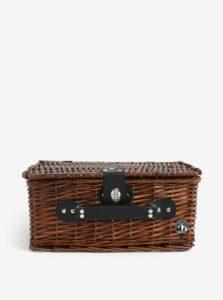Tmavohnedý malý prútený piknikový kôš pre 2 osoby Cilio