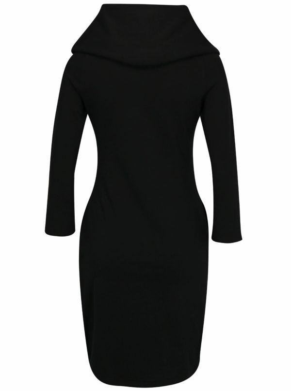 Čierne šaty s rolákom a 3/4 rukávom Mikela da Luka