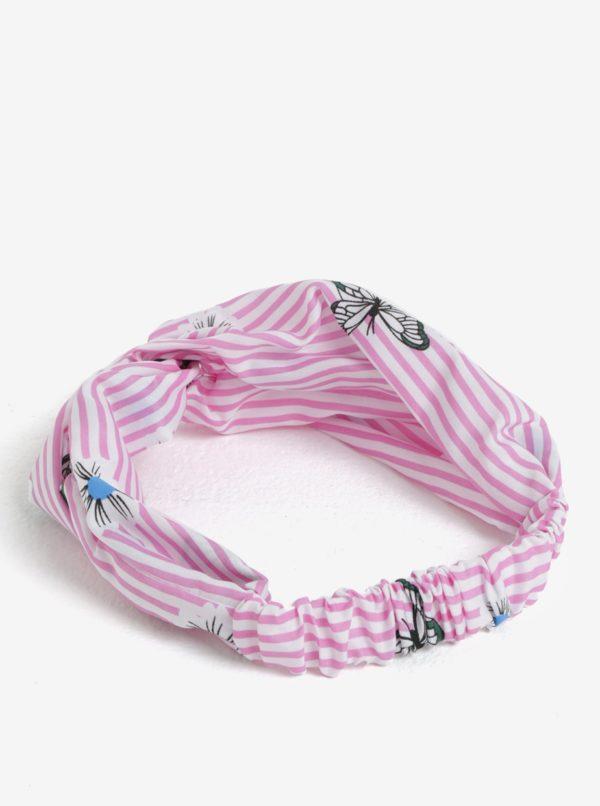 Bielo–ružová dievčenská vzorovaná čelenka name it Facc–Jizzy