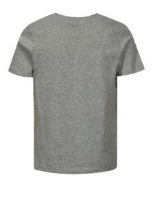 Sivé melírované chlapčenské tričko s potlačou LIMITED by name it Noam