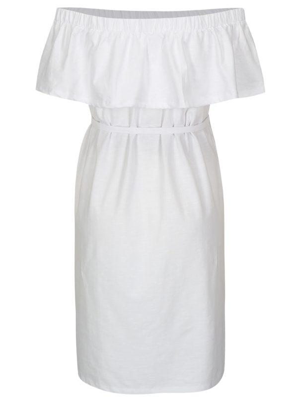 Biele tehotenské šaty s odhalenými ramenami Mama.licious Heart