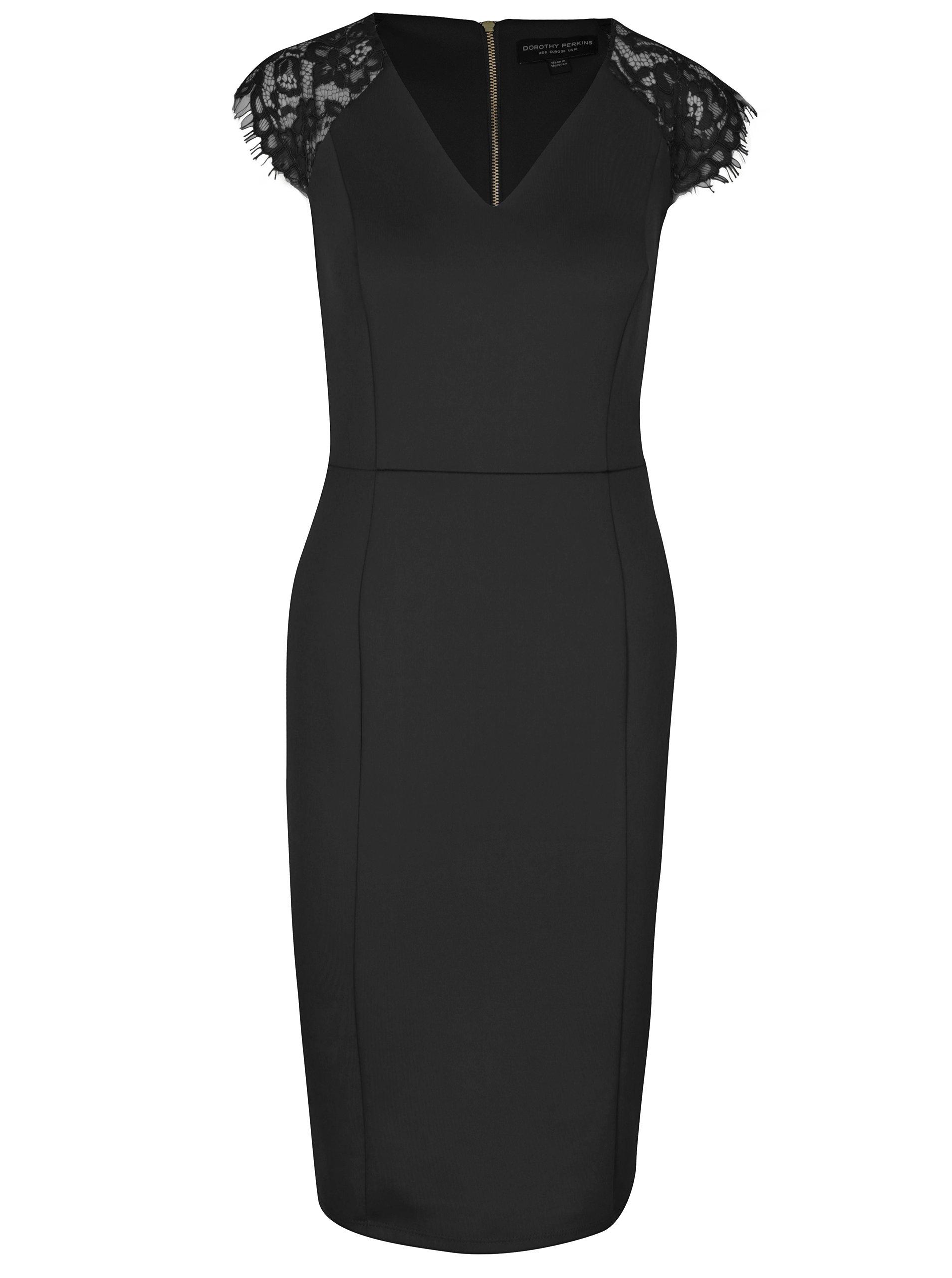 37931fb31e13 Čierne puzdrové šaty s čipkou Dorothy Perkins