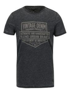 Tmavosivé slim fit tričko s krátkym rukávom Blend