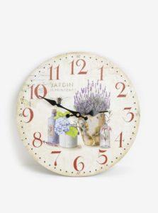 Fialovo-krémové drevené hodiny Dakls