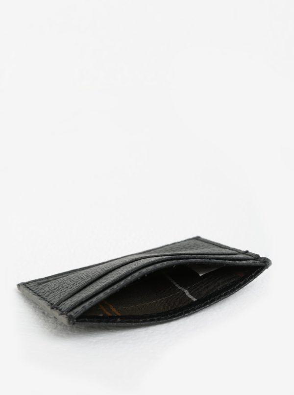 Čierne kožené puzdro na karty Barbour Grain