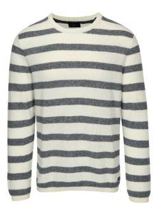 Modro-krémový pruhovaný sveter s prímesou ľanu Jack & Jones Originals Orlito