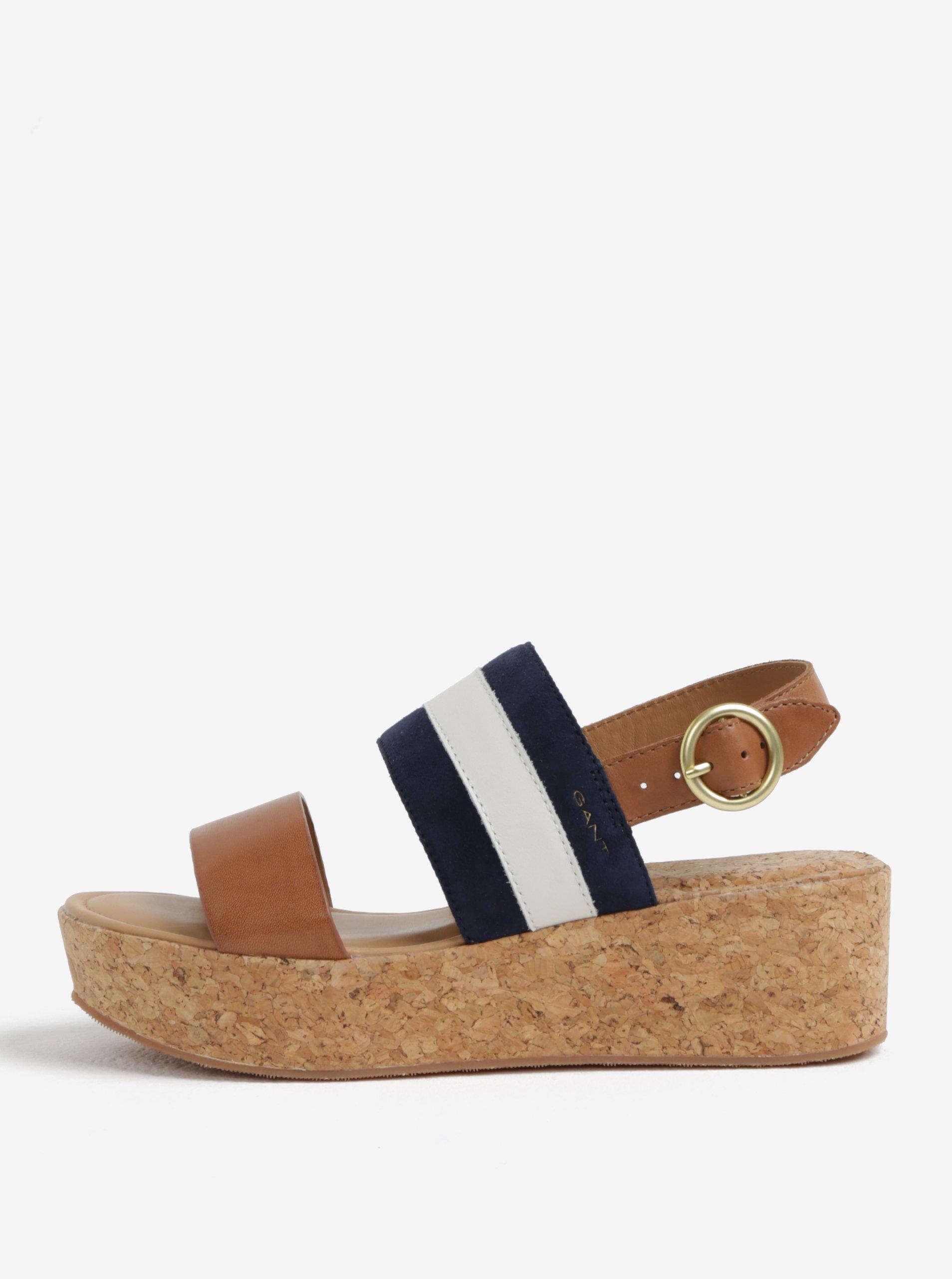 446ffc2116b2 Modro-hnedé kožené sandále na platforme GANT Judith