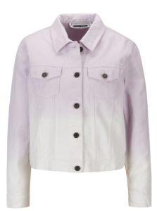 Bielo-fialová krátka rifľová bunda Noisy May Mino