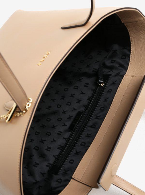 Béžový kožený shopper s detailmi v zlatej farbe DKNY Bryant