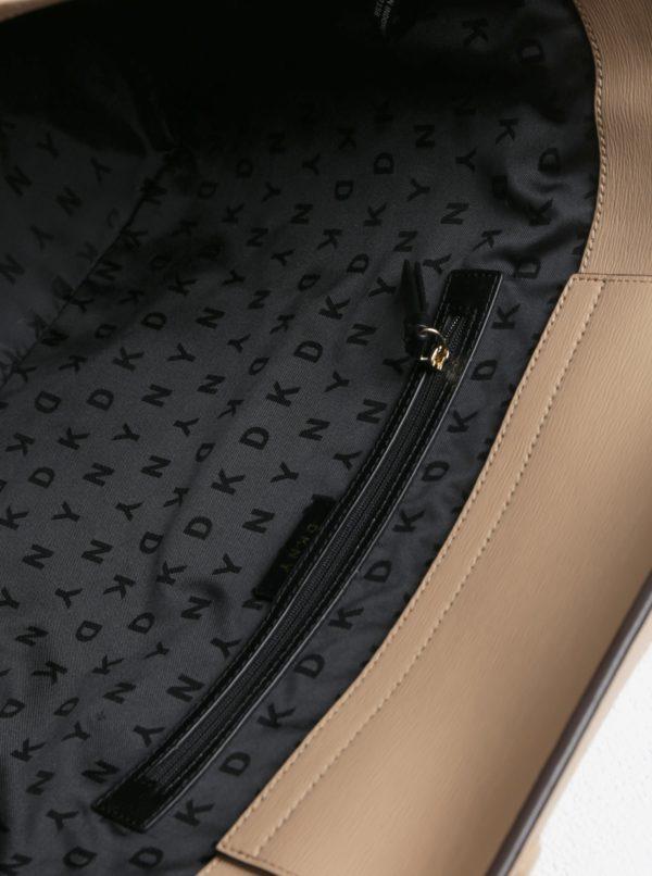 Béžovo-krémový vzorovaný shopper s detailami v zlatej farbe DKNY Bryant
