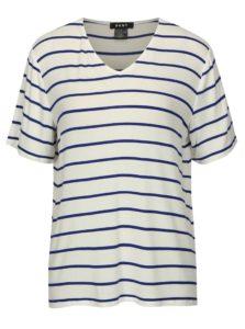 Krémovo-modré pruhované basic tričko DKNY