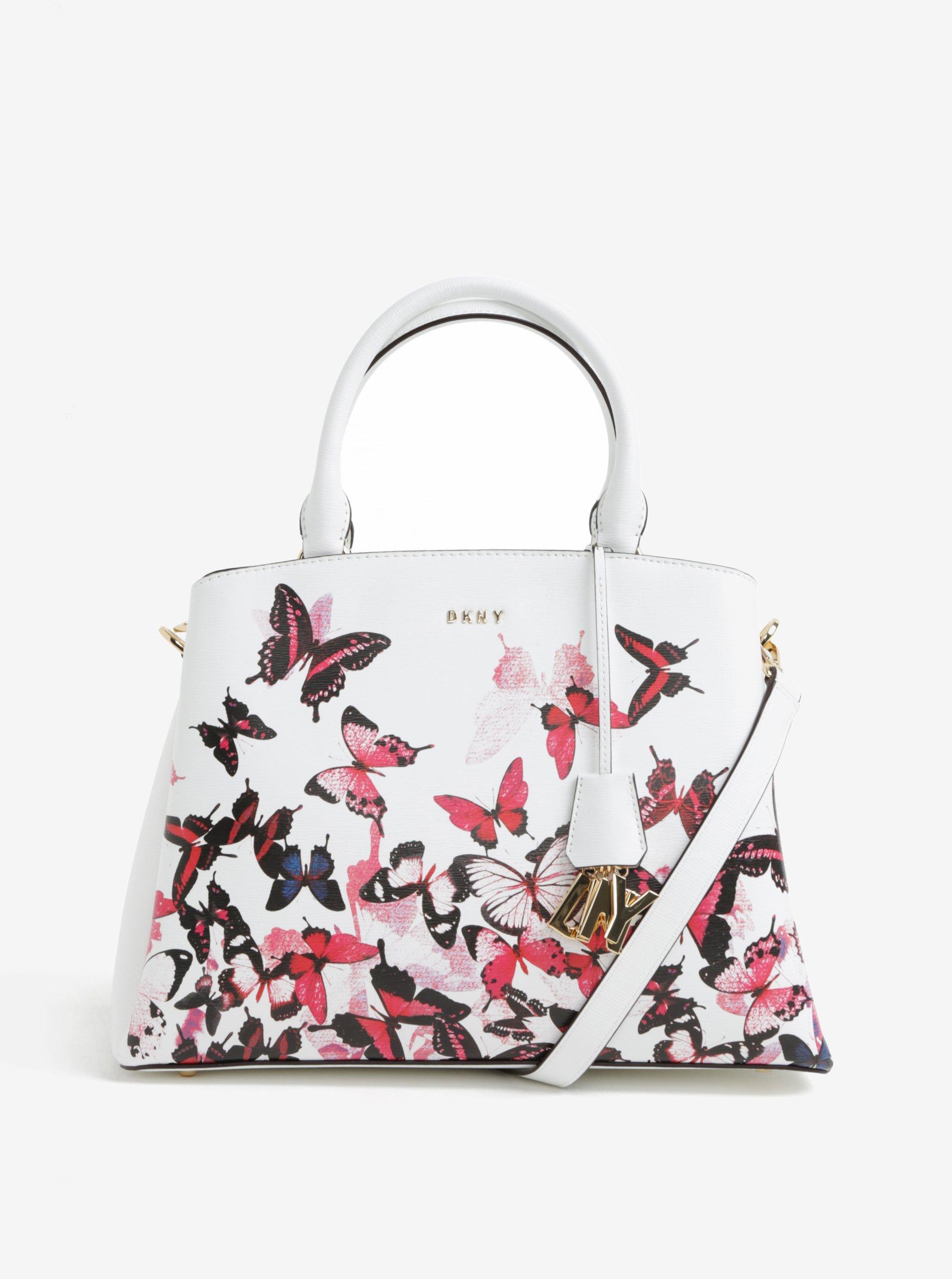 Biela malá kožená kabelka s motívom motýľov DKNY  8ae549bcf7