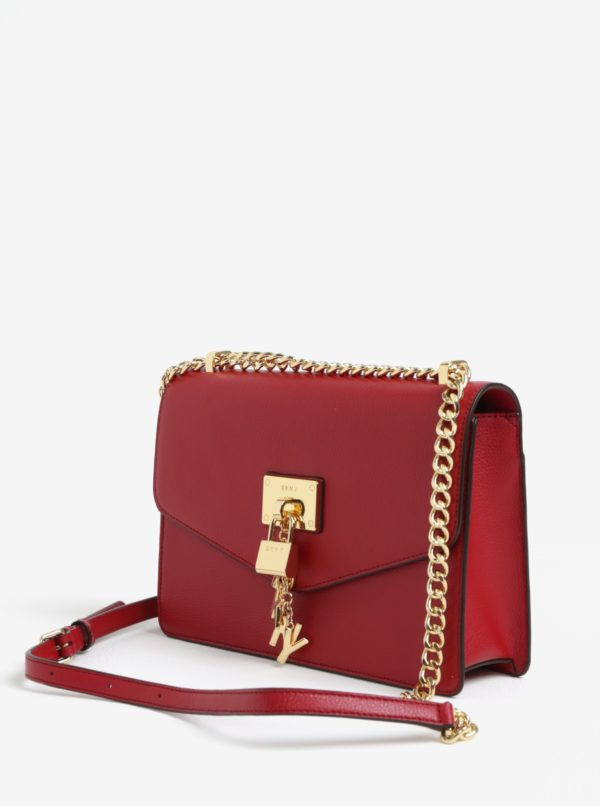 Červená kožená crossbody kabelka s detailmi v zlatej farbe DKNY Elissa