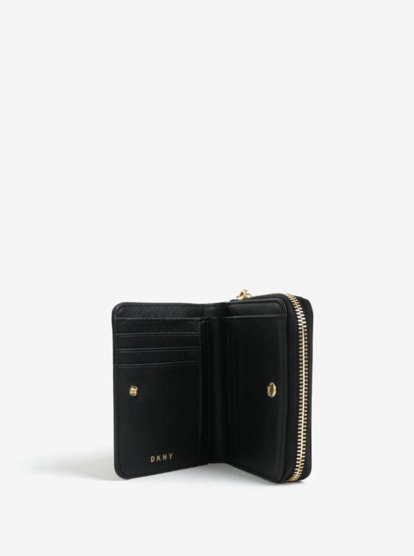 Čierna kožená peňaženka s detailmi v zlatej farbe DKNY Carryall