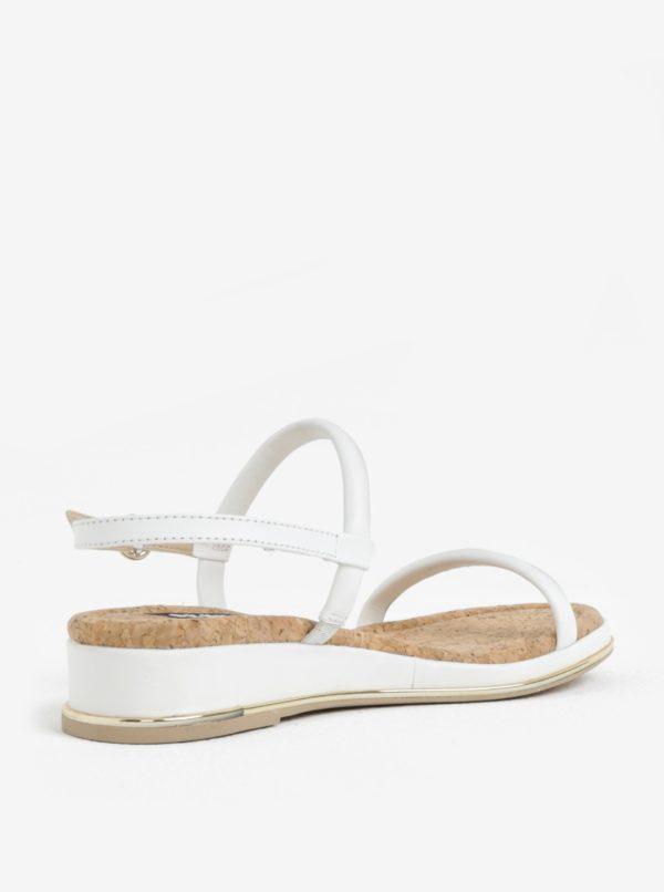 Biele kožené sandále DKNY