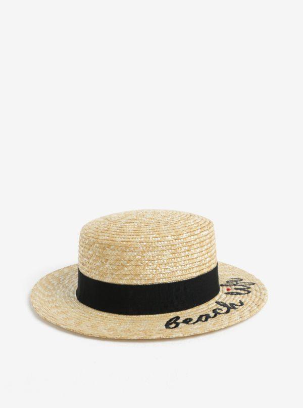 Béžový klobúk s výšivkou Pieces Gilly