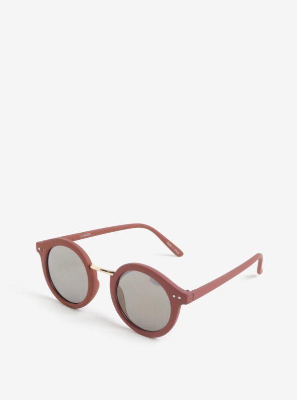Svetloružové okrúhle slnečné okuliare Pieces Ino