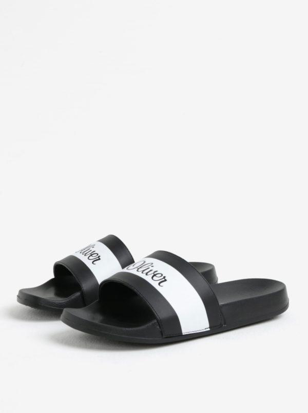 Bielo-čierne pánske šľapky s logom s.Oliver