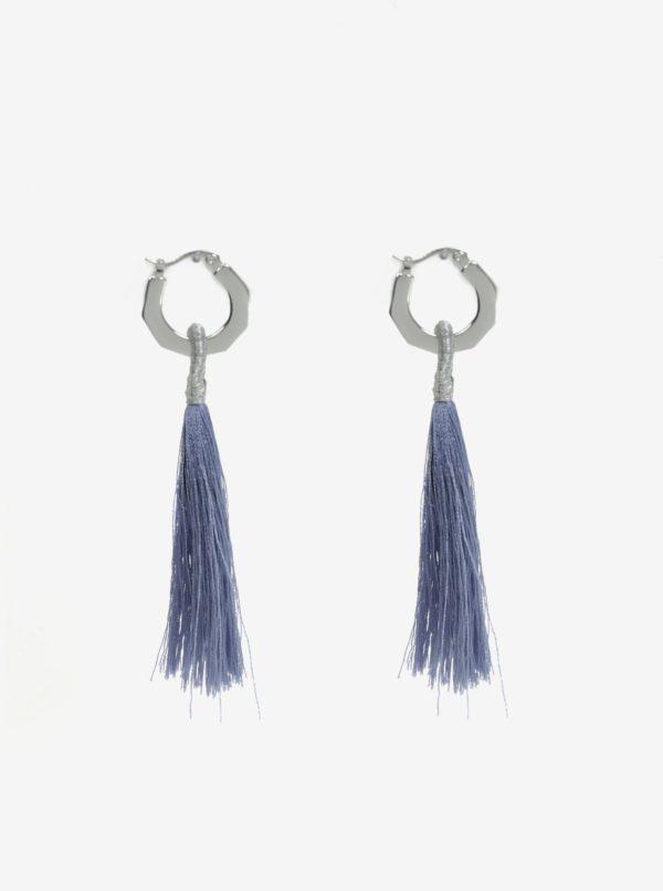 Modré náušnice so strapcami Pieces Illy
