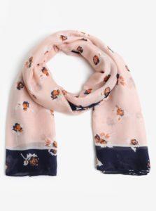Modro-ružová vzorovaná šatka Pieces Imalia
