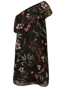 Tmavozelené kvetované šaty na jedno rameno ONLY Maya