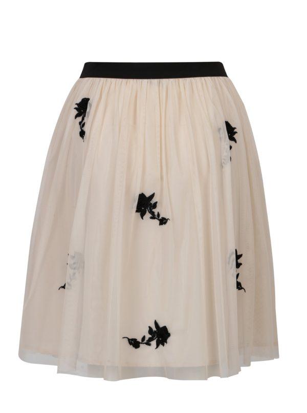 Béžová sukňa s kvetinovou výšivkou ONLY Lana