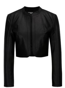 Čierna koženková krátka bunda Jacqueline de Yong Rich