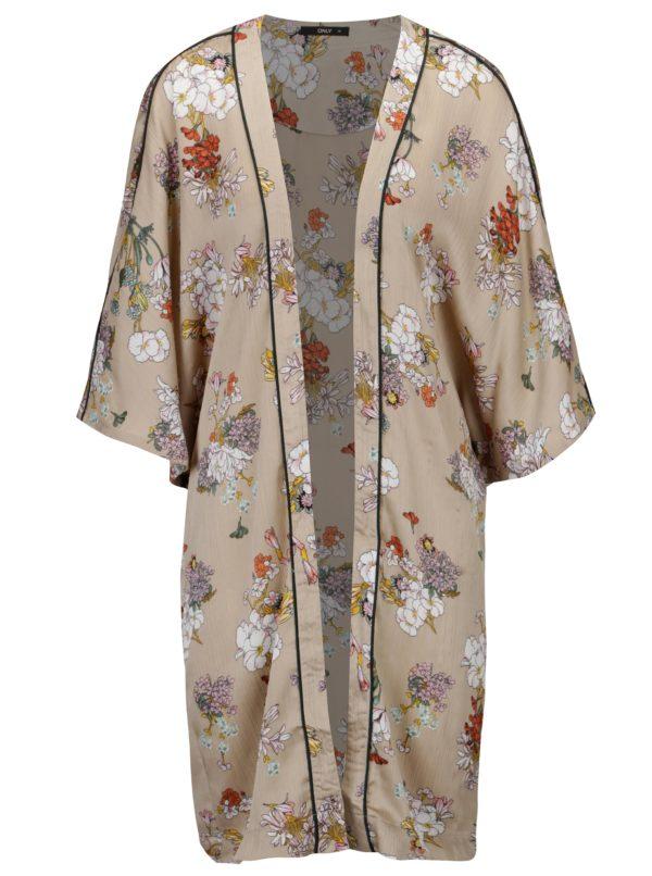 Béžové kvetované kimono ONLY Eva