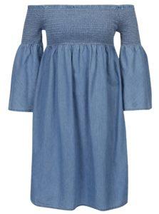 Modré šaty s odhalenými ramenami ONLY Hermion