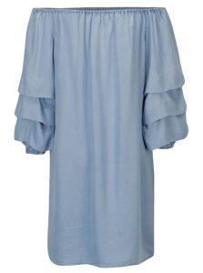 Modré šaty s odhalenými ramenami ONLY Sira