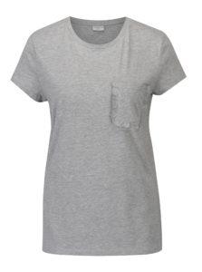 Sivé melírované tričko s vreckom Jacqueline de Yong Calm