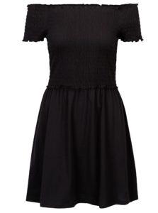 Čierne šaty s odhalenými ramenami ONLY Naomi