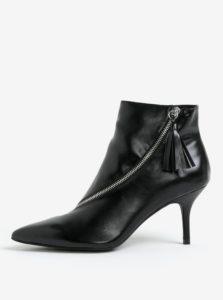 Čierne členkové topánky na ihličkovom podpätku MISSGUIDED