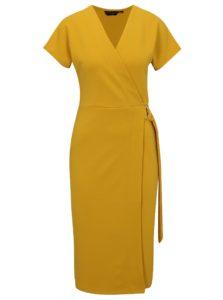 Žlté šaty s prekladaným výstrihom Dorothy Perkins