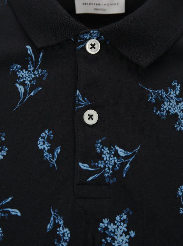 Tmavomodrá kvetovaná polokošeľa Selected Homme Flower
