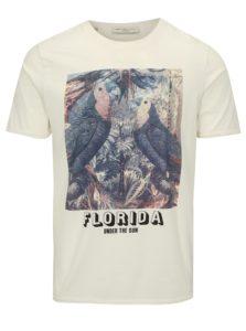 Biele tričko s potlačou Selected Homme New Austin