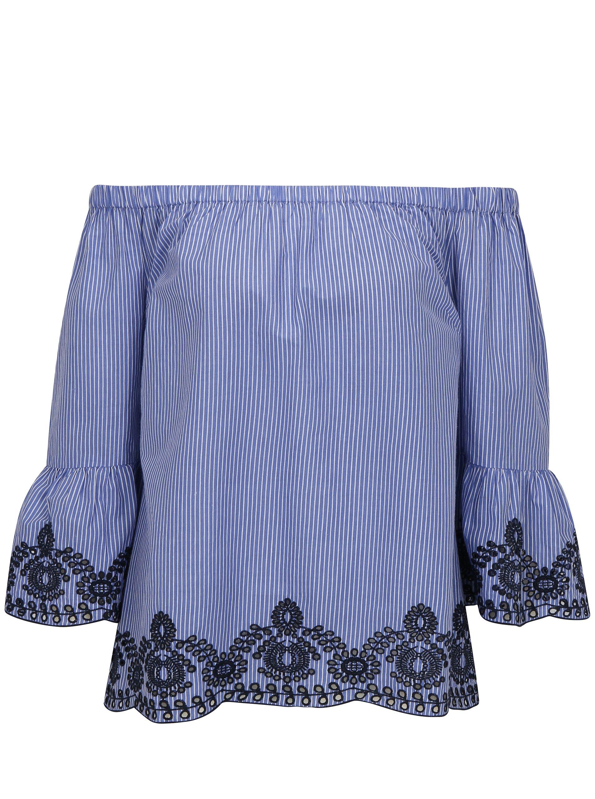 b1658586ba Modrá pruhovaná blúzka s odhalenými ramenami Dorothy Perkins